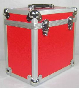"Aluminium 12"" LP Case Red Square Design - 50 Capacity"
